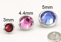 14g and 12g Thin Jeweled Disc Top for Internally Threaded Jewelry