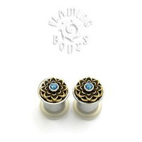 Jeweled Lotus Rubber Eyelet Insert - Brass