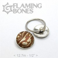 Mokume Gane Dome Captive Elements in Sterling Silver - 001