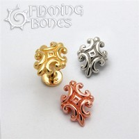 Nouveau 4 - 14g Threaded Ends 18k Gold Plating