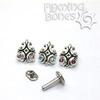 Nouveau 4 - 14g Threaded Ends with Faceted Gems in Sterling Silver
