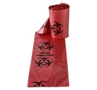 Red Biohazard Bags - Roll of 100