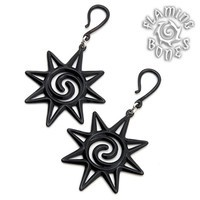 Rosette Black Water Buffalo Horn Ear Dangles