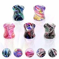 50 Assorted Saddle Flare Marble Swirl Acrylic Plugs - 8g - 5/8 inch