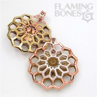 Small Hex-Dala Lattice Ear Weights in Mixed Metals with Gem Accent - Style 2