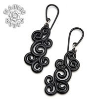Spirals Seven Black Water Buffalo Horn Ear Dangles