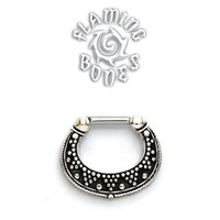 Sterling Silver Septum Klikr with Surgical Steel Post - Luna