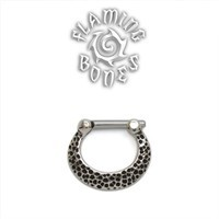 Sterling Silver Septum Klikr with Surgical Steel Post - Textured Crescent
