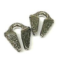 "9/16"" Surgical Stainless Steel Filigrana Ear Weights with Patina"