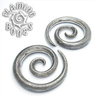 0g Textured Silver Plated Spiral Ear Weights
