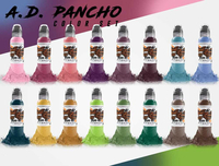 World Famous Tattoo Ink - A.D. Pancho 16 Bottle Pro-Team Color Ink Set
