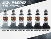 World Famous Tattoo Ink - A.D. Pancho Pastel Grey 6 Bottle Set