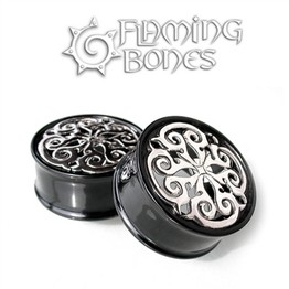"1-3/8"" Mandala 6 - Silver Latice Eyelets in Black Water Buffalo Horn"