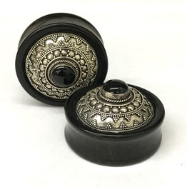 "1-7/16"" Black Dogwood Plugs with Ornate Silver and Gem"