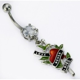 14g 'Love Never Dies' Prong-Set Gem Navel Dangle