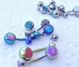 "14g 3/8"" Internally Threaded Titanium Curved Barbells with Double Opal Stones"