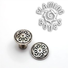 "14g ""Asanoha"" Sacred Geometry Threaded Ends in Sterling Silver"