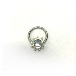 14g Captive Ring with Jeweled Cabochon Sun Bead