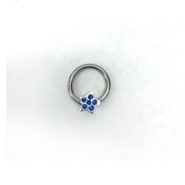 14g Captive Ring with Multi Jewel Star