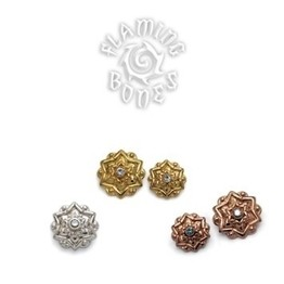 14g Chandi Mandala Gold Plated Threaded Ends With Gem Accent for Internally Threaded Body Jewelry