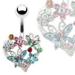 14g Curved Barbell with Jeweled Heart and Multi-Butterfly