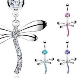 14g Curved Barbell with Petite Dangle Dragonfly