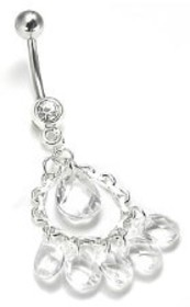 14g Dangle Belly Ring with Chandelier Jewels