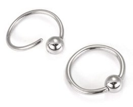 14g Fixed Bead Annealed Steel Captive Ring