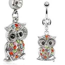 14g Multi-Color Jeweled Owl on Branch Dangle Navel Ring
