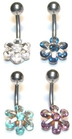 14g Multi-Jeweled Flower Curved Barbell