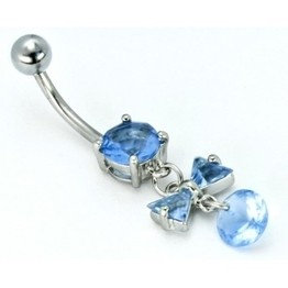 14g Prong Set Jeweled Curve with Bow-Tie Dangle