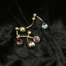 14g Pyrite Gold Titanium Double Jeweled Curved Barbell
