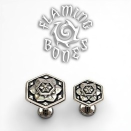 "14g ""Seven Days of Creation"" Sacred Geometry Threaded Ends in Sterling Silver"