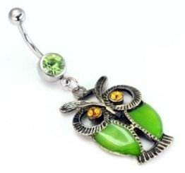 14g Single Gem Belly Button Dangle with Vintage Owl