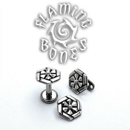 "14g ""Solar Flare"" Sacred Geometry Threaded Ends in Sterling Silver"