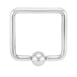 14g Square Shaped Captive Bead Ring