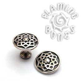 "14g ""Stellar"" Sacred Geometry Threaded Ends in Sterling Silver"