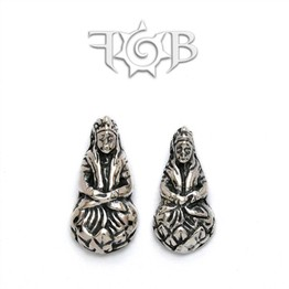 14g Sterling Silver Buddha Seated on Lotus Threaded End