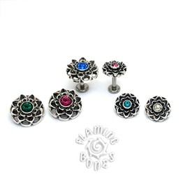 14g Sterling Silver Lotus Threaded Ends With Accent for Internally Threaded Body Jewelry