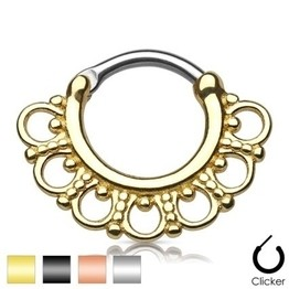 16g Septum Clicker - Tribal Fan