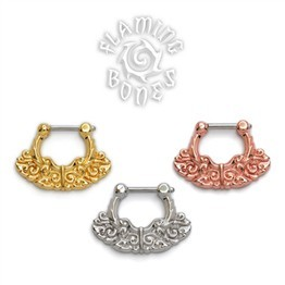 18k Gold Plated Septum Klikr with Finely Detailed Floral Pattern and Surgical Steel Post - Chantri