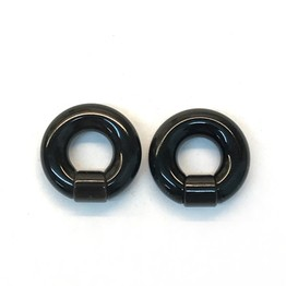 Black Water Buffalo Horn Captive Rings with Horn Segment