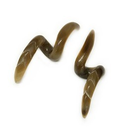 2g Ear Snake Loops in Tortoise Water Buffalo Horn