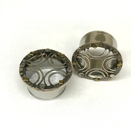316LVM Steel Indian Lattice Eyelets with Silver and Brass Accents