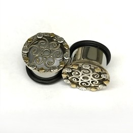 316LVM Steel Indian Lattice Eyelets with Silver and Brass Accents - SEP2