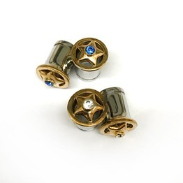 316LVM Steel with Gold Plated Silver Star and Faceted Gems - Classic Accent Eyelets