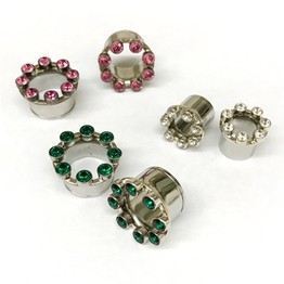 316LVM Steel with Silver and Faceted Gems - Classic Accent Eyelets