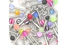 "50 piece 14g 3/8"" Labret with Acrylic Ball Package"