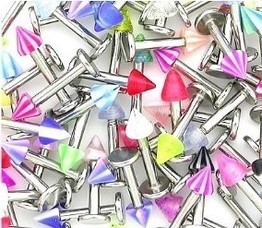 "50 piece 14g 3/8"" Labret with Acrylic Spike Package"