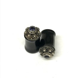 "7/16"" Traditional Black Water Buffalo Horn Balinese Plugs with Silver and Amethyst Gem"
